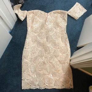 Gold, floral embroidered/lacy, dress